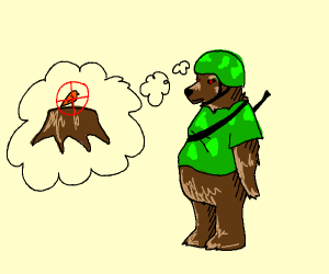 Bear soldier looking for a bird (to kill him)