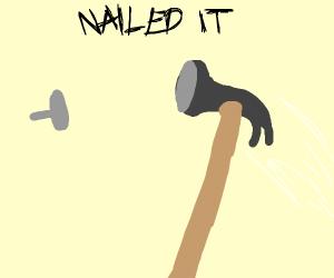 Hammer nailed a nail