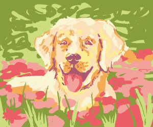 Golden retriever among the flowers