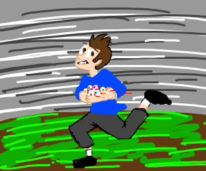 Man running away with eyeballs in hand