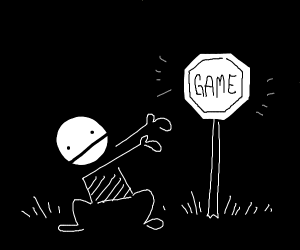 a sign, which says game