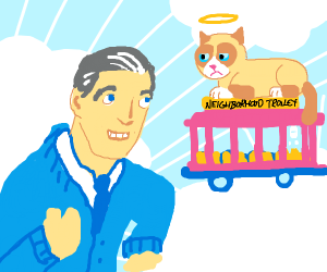 Grumpy Cat in ultra heaven w/ mr. Rogers