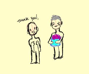thank man for dum flowers