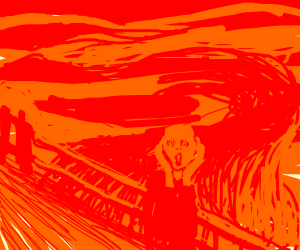 the scream but red n peach