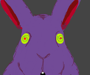 purple bunny with hypnotic eyes