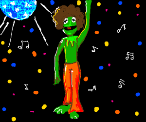 kermit disco dancing(with afro)