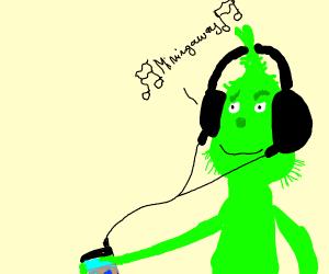 the grinch listens to music through a headph