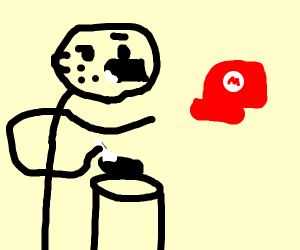 Eating cereal meme guy pointing at Marios hat