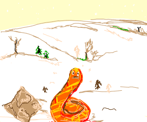 A confused snake in a snowy tundra