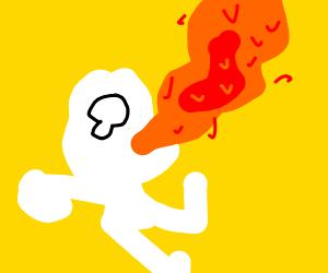 Man eats lava and (kinda) survives