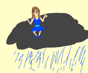 Girl relaxing on raincloud
