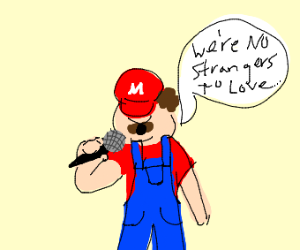 Mario singing never gonna give you up