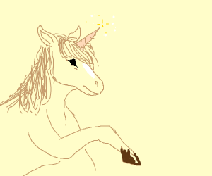 A horse with a unicorn horn on it