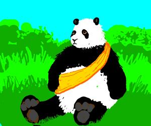 panda wearing a yellow sash