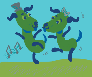 Green dogs couple dancing