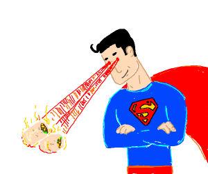 superman uses his powers to heat up a burrito