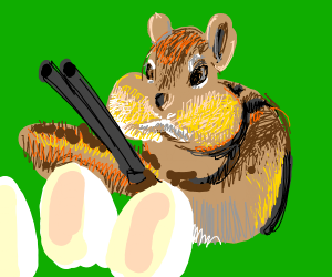 chipmunk with rifle protects eggs