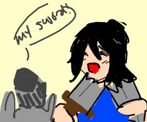 Anime Girl Snaps Knight's Sword