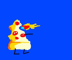 pizza godzilla roaring fire
