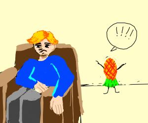 Dude ignoring upside-down pineapple