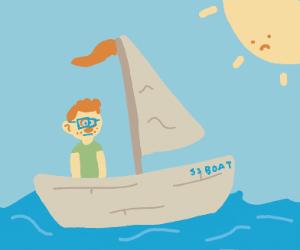 Redhead boy on a sailboat