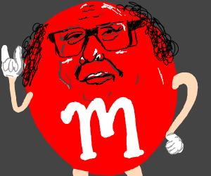 Danny Devito dressed as an M&M