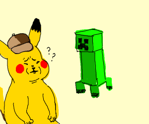 Pikachu is confused why he see's a creeper