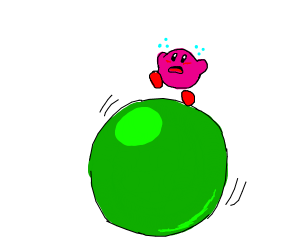 Kirby on giant rolling ball