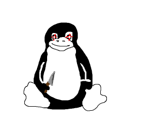 The Linux Penguin holding a knife