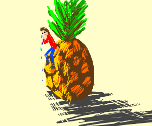Man Crying on A pineapple