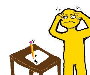 yellow man uses telekinesis to write w/pencil
