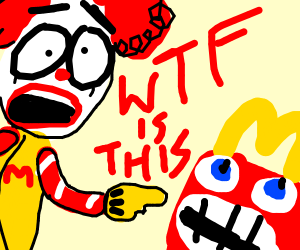 Mc Donald's clown scared of a happy meal
