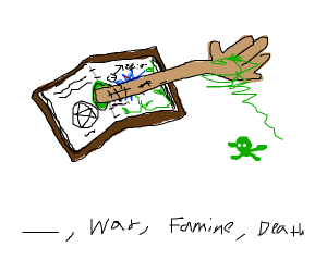 Plague hand reaches out of book
