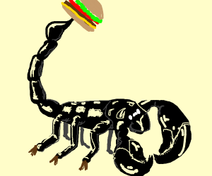 scorpion carries a burger