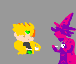 Dio drinks tea with a cute pink witch