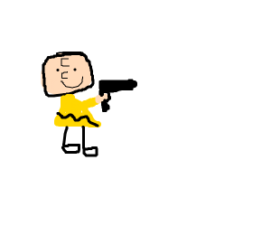 Charlie Brown has a gun