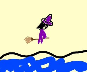 witch on a broom flying over the sea