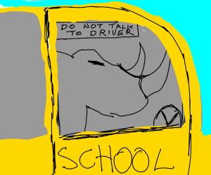 rhino driving a school bus