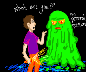 Man is asking a green creature what she is