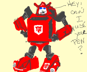 red transformer asks for a pen