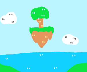 A floating island in middle of a lake