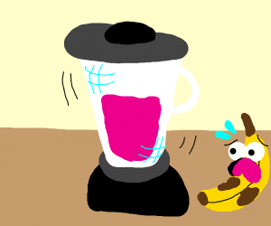 Fruit watches his friends get blended up