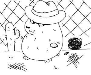 Hamster wearing a cowboy hat