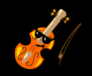 violin with shades