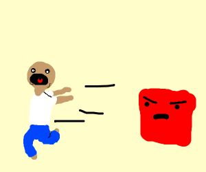 Man scared by angry square