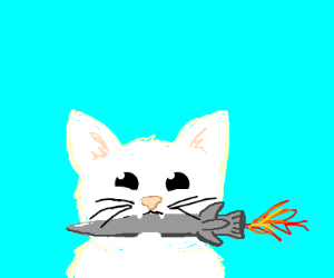white cat w/ tiny rocket in its mouth