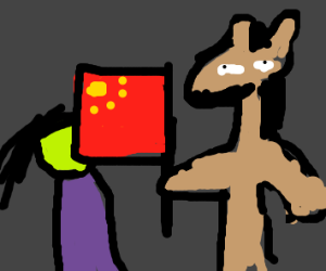 Faceless woman in purple. A donkey with flag