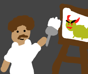 Bob Ross paints a demented bug