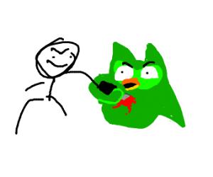 man stabs duolingo bird
