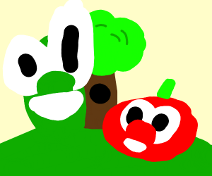 a tree and vegetables